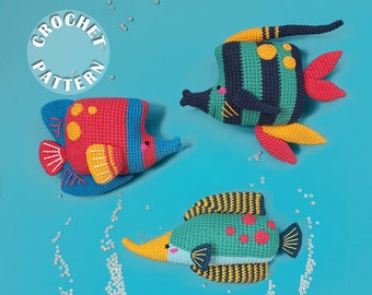 Summer Funquarium | Amigurumi Crochet | PDF pattern for all 3 toys | Summer crochet pattern  and step by step photos |