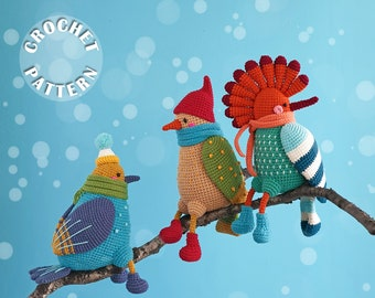 Birds of winter | Amigurumi Crochet | PDF pattern for all 3 toys | Winter crochet pattern  and step by step photos |