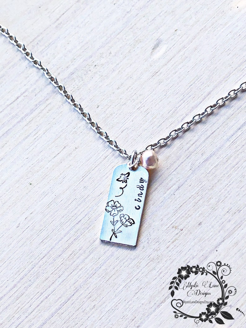 Custom Hand stamped Freshwater pearl necklace. Personalized minimalist necklace Birth month flower necklace Bar name necklace