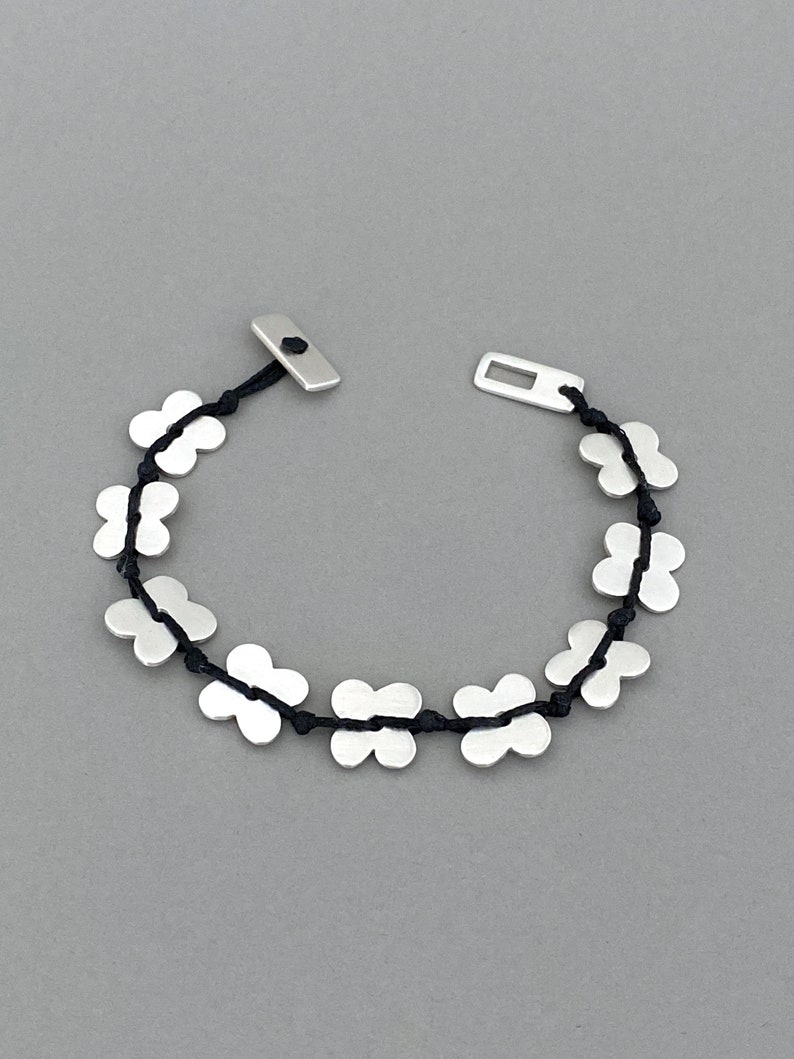 Original Design Stacking Gift Silver Bracelet Silver Flowers with Black Waxed Cord Layering Every Day Wear Handmade Women Bracelet