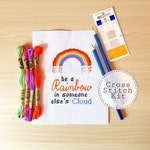 Rainbow Cross Stitch Kit - Modern - Counted Cross Stitch - Hobby - Craft Kit
