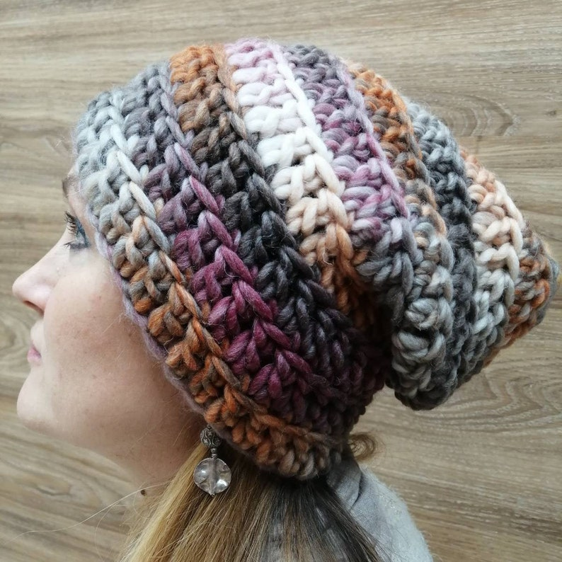 Multicolor Slouchy hat Boho hat Slouchy beanie Cable Knit Beanie Crochet hat Women knit hat,Brown Winter hat Womens gift