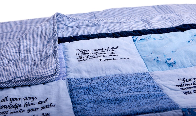 Bible Verse Baby Quilt  Beautiful Cotton Blanket Embroidered image 0
