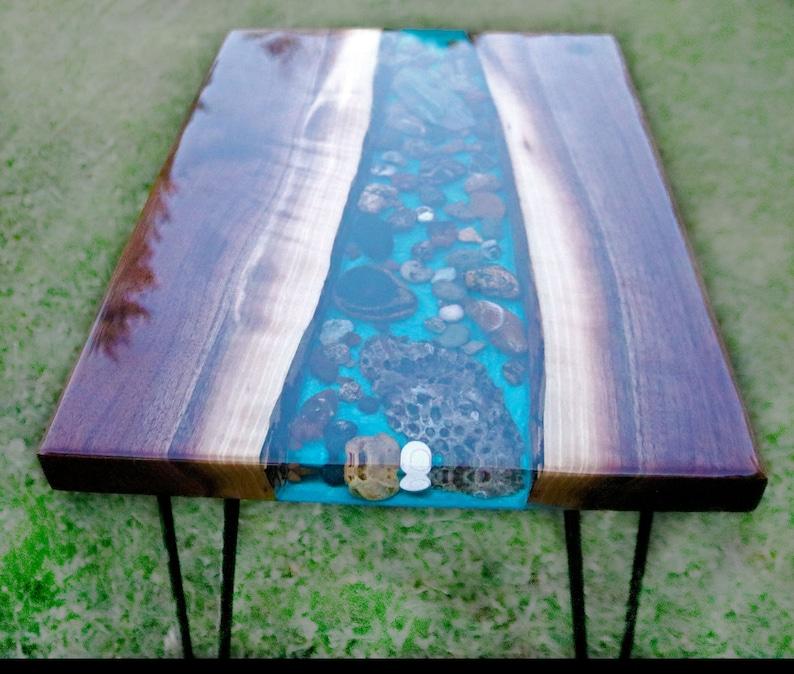 Live Edge Epoxy Resin River Table Top