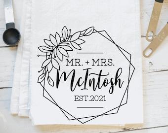 Just Married personalized tea towel/rustic farmhouse flour sack towel/ wedding housewarming/newlyweds/ Last name personalization