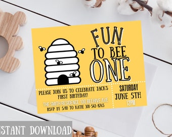 Fun to Bee one Postcard instant download/ First Birthday Invitation/ First birthday invite/Instant download/ Canva Template/First birthday