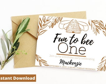 Fun to Bee one Boho instant download/ First Birthday Invitation/ Bohemian/Instant download/ Canva Template/First birthday/