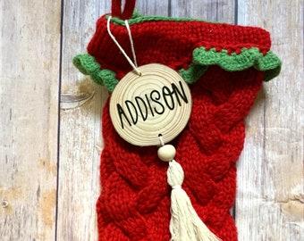 Wood slice Christmas ornament/stocking name tag/boho/rustic
