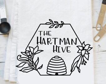 Personalized beehive flour sack kitchen towel/ bee towel/flower towel