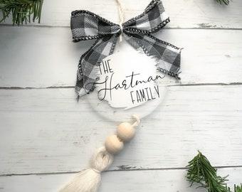 Personalized Family Christmas Acrylic ornaments/Boho/Family name
