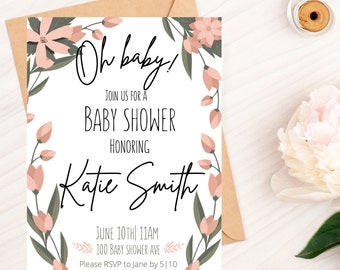 Oh Baby-Baby Shower instant download/ Baby shower Invitation/ Baby Girl/Floral/ Canva Template/Baby Shower