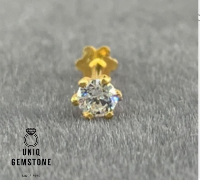 0.05ct To 0.25 ct Real Diamond floral 14k Yellow Gold Nose Lip Labret Screw Stud Piercing Ring Pin