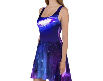 Planets Autumn Dress Solar System Half Sleeve Skater Dress Galaxy Summer Dress