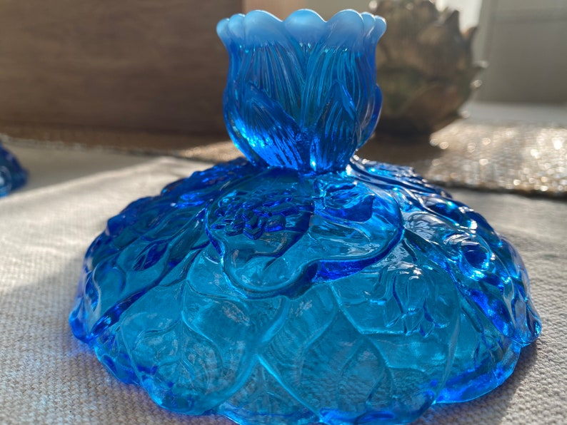 Fenton Colonial blue opalescent Lily Pad candle holders
