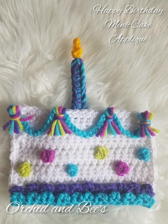 Superb Happy Birthday Mini Cake Crochet Applique Pattern Etsy Personalised Birthday Cards Vishlily Jamesorg