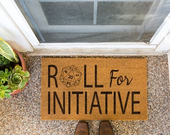 """DUNGEONS AND DUNGEONS   Roll For Initiative Welcome Mat   18""""x30""""   Made from Brown Coir   Non-Slip Backing   Ships Within 1-2 Business Days"""