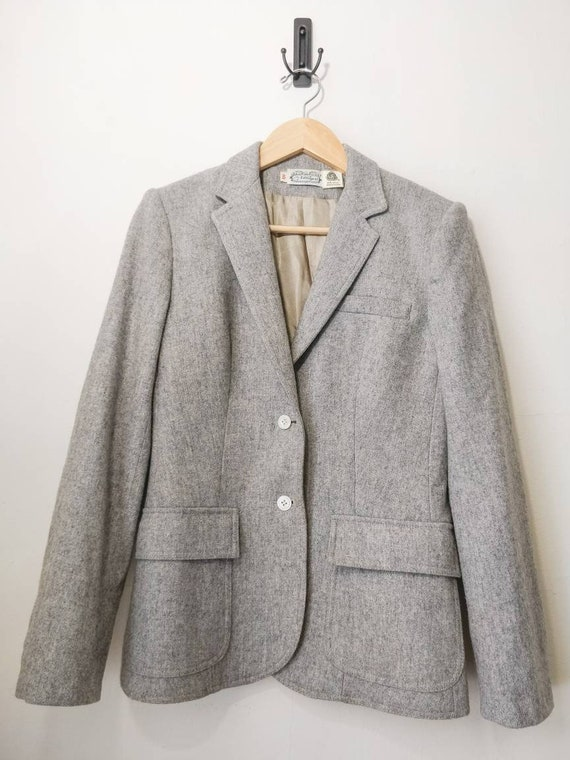 Vintage 70s Light Heather Grey Fitted Wool Blend F