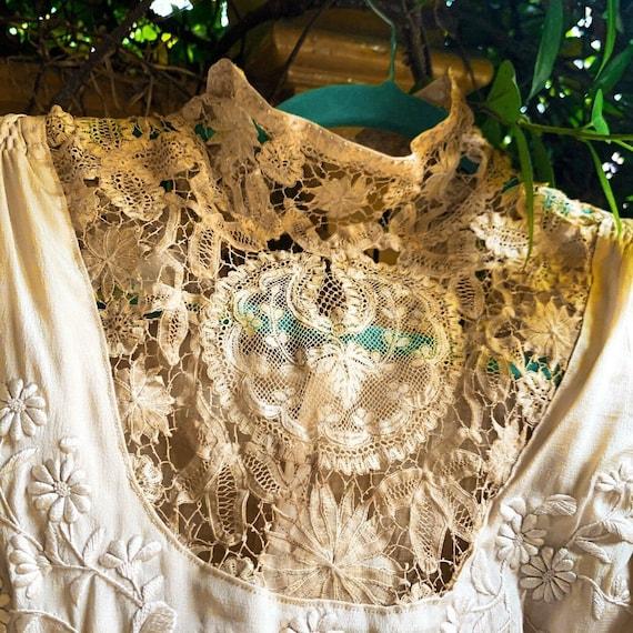 Antique Dress Edwardian Silk Evening Gown Embroid… - image 5