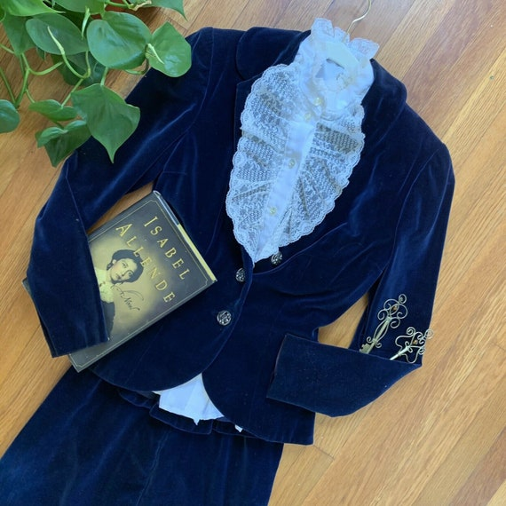 Vintage 1940s Blue Velvet Skirt Suit Set Size XS