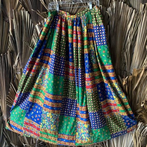 Vintage 70s Patchwork Skirt Bonwit Taylor Size Med