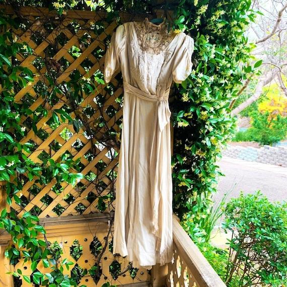 Antique Dress Edwardian Silk Evening Gown Embroid… - image 2