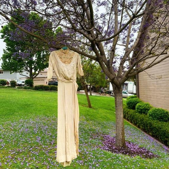 Antique Dress Edwardian Silk Evening Gown Embroid… - image 3