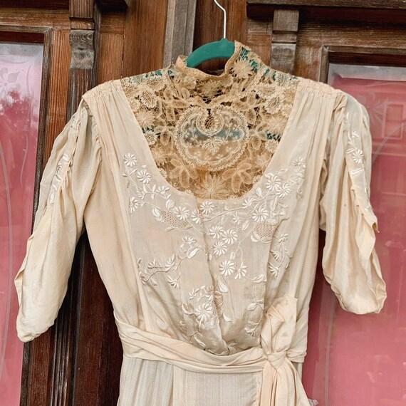 Antique Dress Edwardian Silk Evening Gown Embroid… - image 4