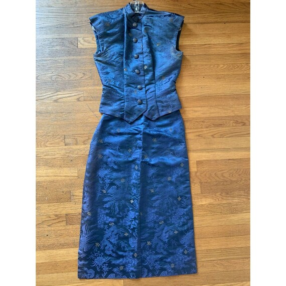 Vintage 1940s Blue Cheongsam Skirt Set