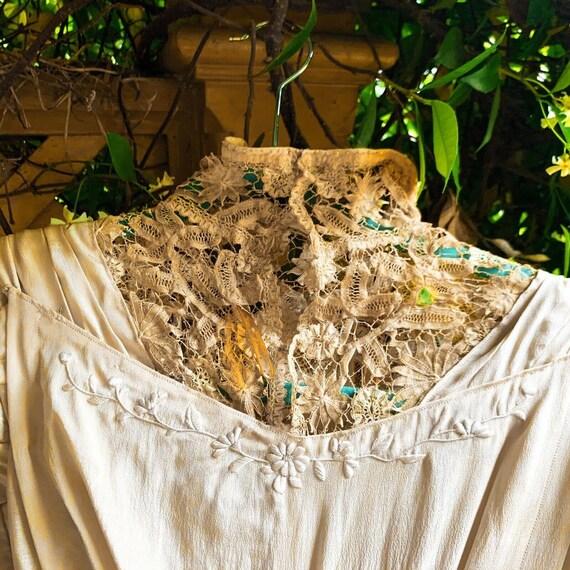 Antique Dress Edwardian Silk Evening Gown Embroid… - image 9