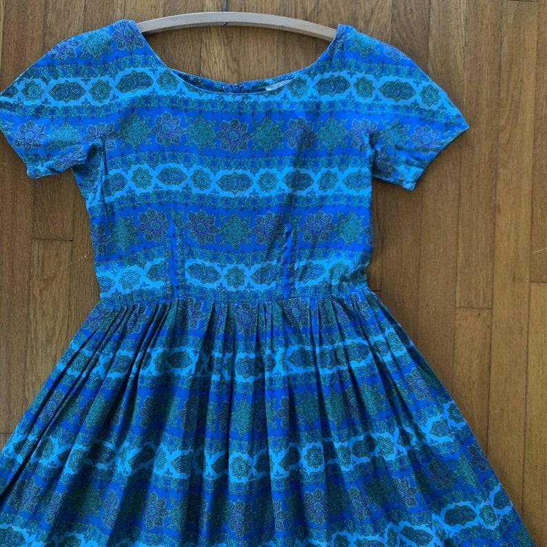 Vintage 1950s Fit /& Flare Dress Size Medium Blue Jeanne D\u2019arc 50s Dress