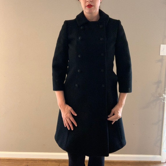 Vintage 1960s Black Wool Pea Coat