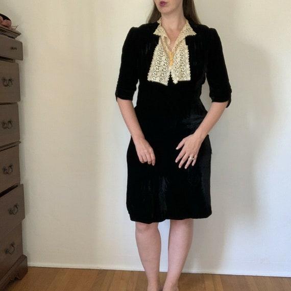 Vintage 1930s Black Velvet Dress Size XL Antique L