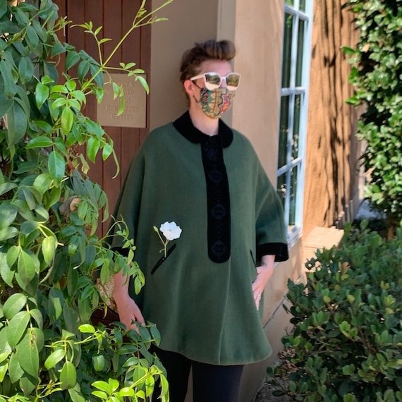 Vintage 1950s German Green Wool Cape with Embroide