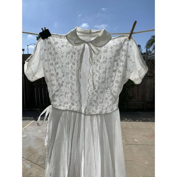 Vintage 1930s White Organdy Wedding Dress Size Med