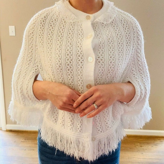 Vintage 1960s Cape White Sweater Cape