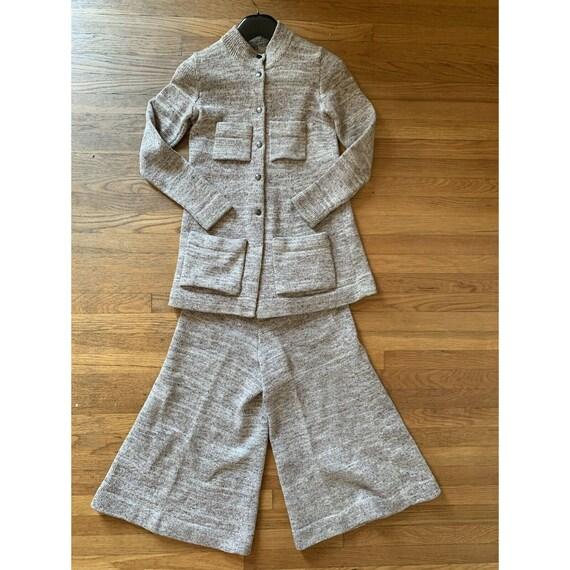 Vintage 70s Sweater Set Gaucho Pants Knit Size Sm… - image 2