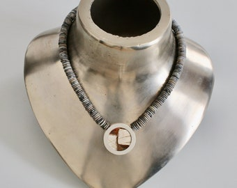 Interchangeable mechanism chain, jasper, light grey, disc 8 x 2 mm, with stainless steel mechanics