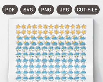 Printable Planner Weather Stickers, Weather Planner Stickers, Weather Icon Planner Stickers, Weather Stickers for Planner, Rain Stickers