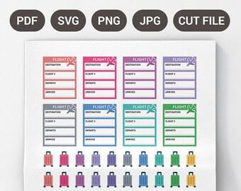 Printable Flight Tracker Stickers, Holiday Planner Stickers, Printable Holiday Stickers, EC Planner Stickers, Printable Planner Stickers