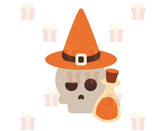 Skull with Witch Hat and Potion Bottle SVG, Skull SVG, Skeleton SVG, Halloween Skull svg, Witch svg