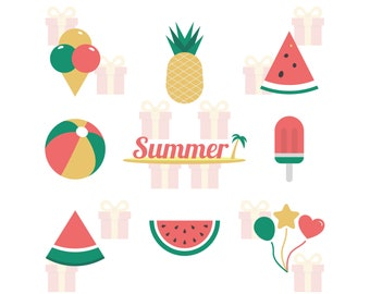 Beach SVG Bundle, Summer SVG Bundle, Watermelon SVG, Ice Cream svg, Beach Ball svg, Pineapple svg, Summer Pack svg