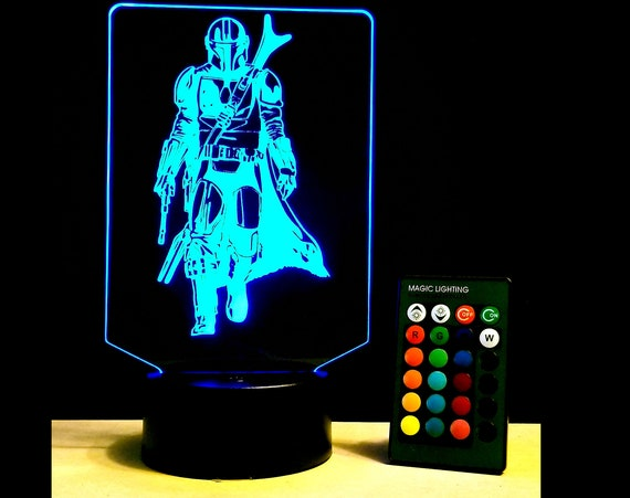 Mando Edge lit acrylic Illusion lamp with multi-color light and remote control - Mandalorian fan art engraving