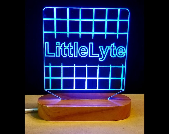 LittleLyte™ Custom Personalized Multi-Color Laser Engraved Edge lit LED Acrylic Sign with solid wood light base