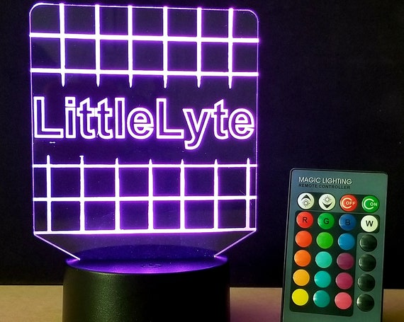 LittleLyte™ Custom Personalized Multi-Color Laser Engraved Edge lit LED Acrylic Sign with light base and remote control