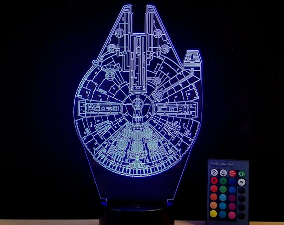 Millennium Falcon Edge lit acrylic 3D Illusion lamp with multi-color LED light and remote control - Star Wars wire frame engraving 16 color
