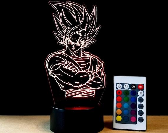 Goku edge lit acrylic Illusion lamp with multi-color light and remote control - Dragon Ball Z Super Saiyan Battle fan art engraving decor