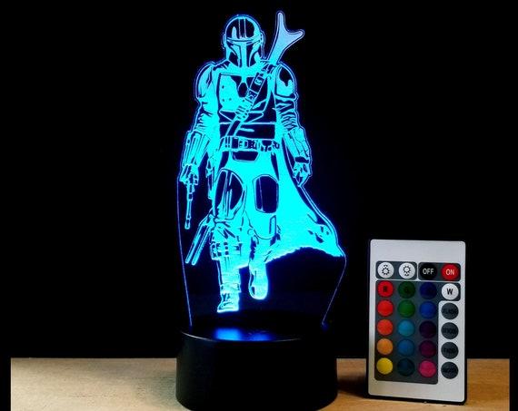 Mando Edge lit acrylic 3D Illusion lamp with multi-color light and remote control - Star Wars Mandalorian fan art engraving decor
