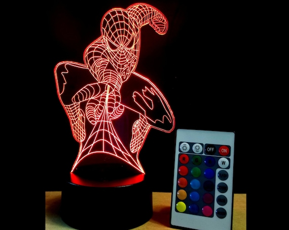 Spider-Man LED edge lit acrylic Illusion lamp with multi-color light and remote control - Spiderman marvel decor fan art