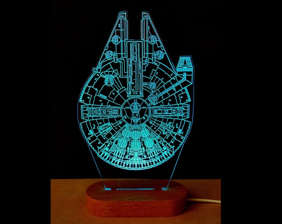 Edge lit acrylic Illusion lamp with multi-color solid wood LED light base - Star Wars Millennium Falcon wire frame engraving