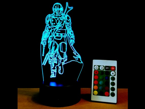 Mandalorian Edge lit acrylic 3D Illusion lamp with multi-color LED light and remote control - Star Wars Mando fan art engraving decor